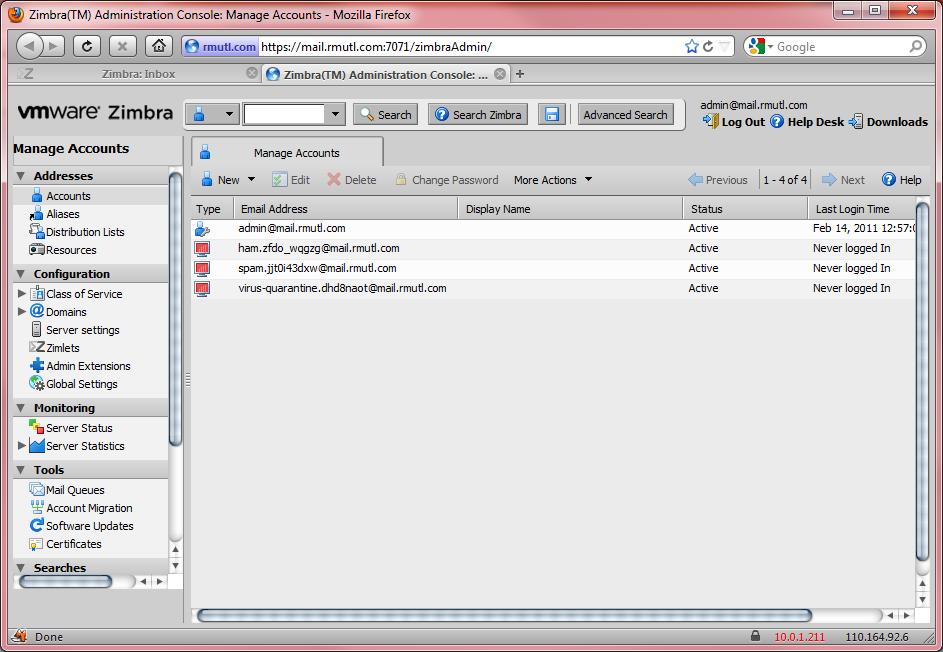 ติดตั้ง Mail Server ด้วย Zimbra 7 – RMUTL NOC